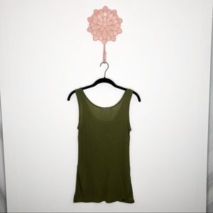 Anthro   Pure + Good Olive Green Ribbed Tank Top